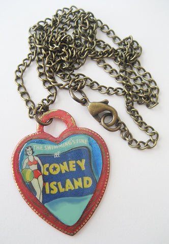Coney Island NY Bathing Beauty Souvenir Heart Necklace - Hollee