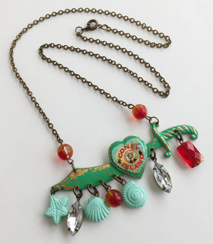 Coney Island Souvenir Enamel & Seashell Sword Necklace - Hollee