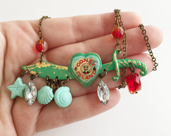 Coney Island Souvenir Enamel & Seashell Sword Necklace