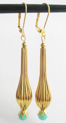 I Dream of Jeannie Fluted Leverback Drop Earrings