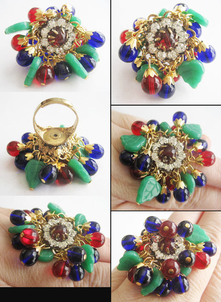 Ruby Red & Cobalt Blue Bead with Jade Glass Leaves Gypsy Ring - Hollee