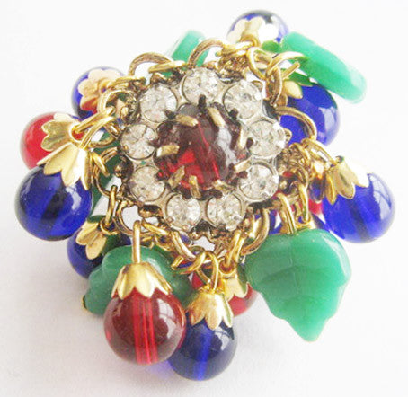 Ruby Red & Cobalt Blue Bead with Jade Glass Leaves Gypsy Ring