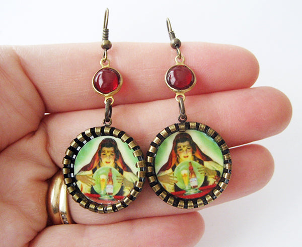 Gypsy Fortune Teller Crystal Ball Earrings - Hollee