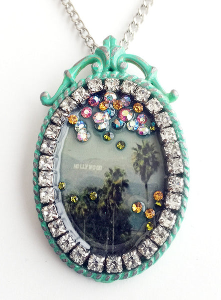 Palm Trees & Hollywood Sign Rhinestone California Souvenir Necklace