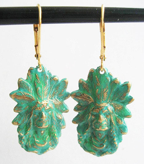 Verdigris Enamel Dangling Vintage Indian Chief Earrings - Hollee