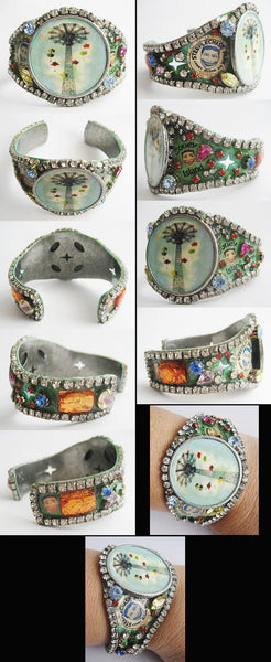 Coney Island NY Rhinestone Jeweled Wide Cuff Bracelet