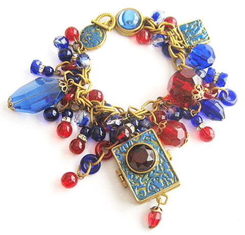 Cobalt and Ruby Glass Charm Bracelet with Ornate Locket & Key