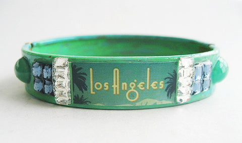 Los Angeles California Souvenir Palm Tree & Rhinestone Bangle Bracelet - Hollee