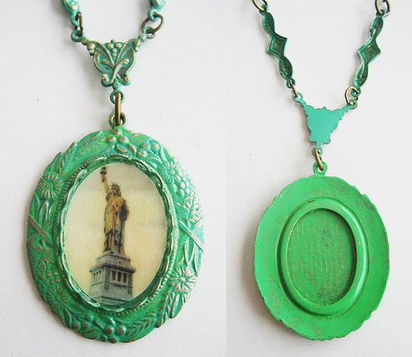 Statue of Liberty New York City Souvenir Enamel Pendant Necklace - Hollee