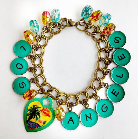 Los Angeles California Souvenir Dangly Charm Bracelet - Hollee
