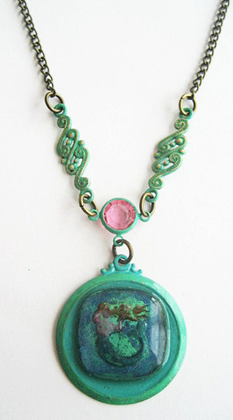 Glass Cabochon Reverse Carved Mermaid Pendant Necklace