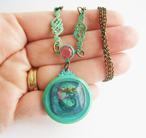 Glass Cabochon Reverse Carved Mermaid Pendant Necklace - Hollee