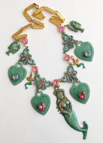 Ornate Enamel & Rhinestone Mermaid Runway Necklace