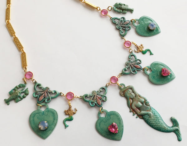 Ornate Enamel & Rhinestone Mermaid Runway Necklace - Hollee