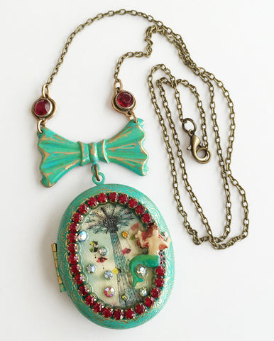 Coney Island Mermaid and Parachute Jump Rhinestone Locket Necklace