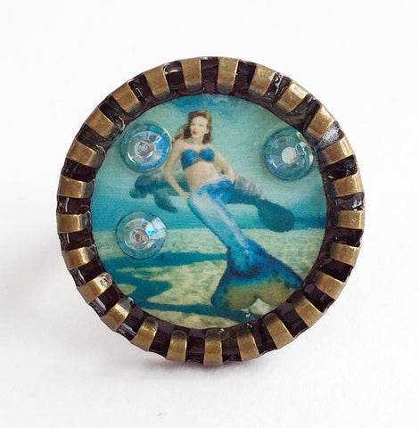 Weeki Wachee Blue Mermaid Adjustable Ring with Rhinestones v2