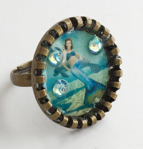 Weeki Wachee Blue Mermaid Adjustable Ring with Rhinestones v2 - Hollee