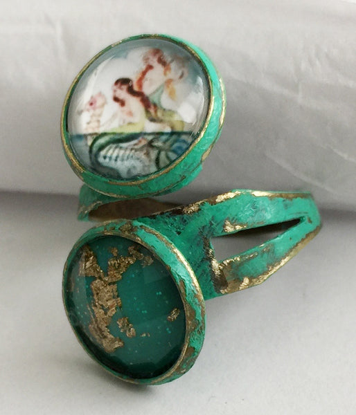 Glass Mermaid Cabochon Adjustable Wrap Ring v1 - Hollee