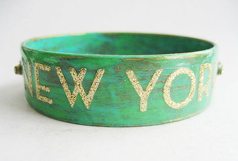 New York Enamel & Gold Glitter Bangle Bracelet with Rhinestones
