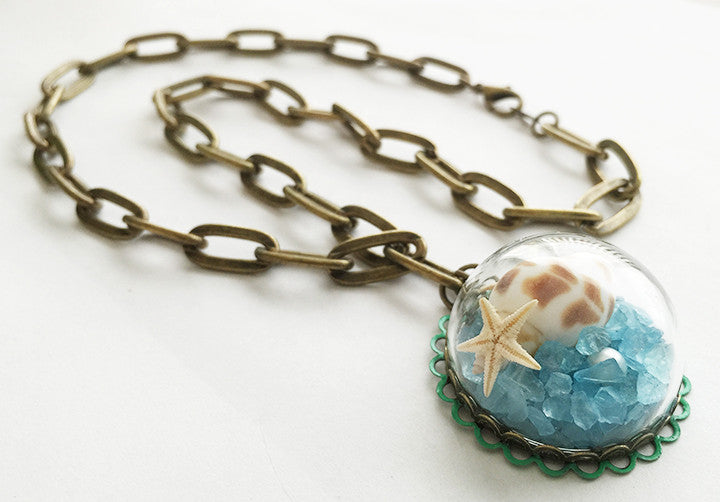 Mermaid's Sea Glass Seashell Starfish in Glass Globe Pendant Necklace - Hollee
