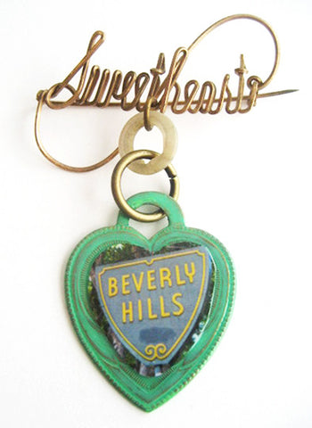 Beverly Hills California Souvenir Sweetheart Pin