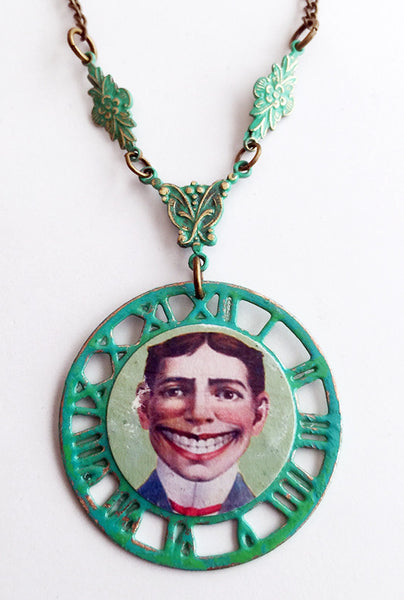 Coney Island Tillie Funny Face Clockwork Pendant Necklace - Hollee