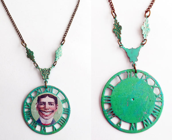 Coney Island Tillie Funny Face Clockwork Pendant Necklace