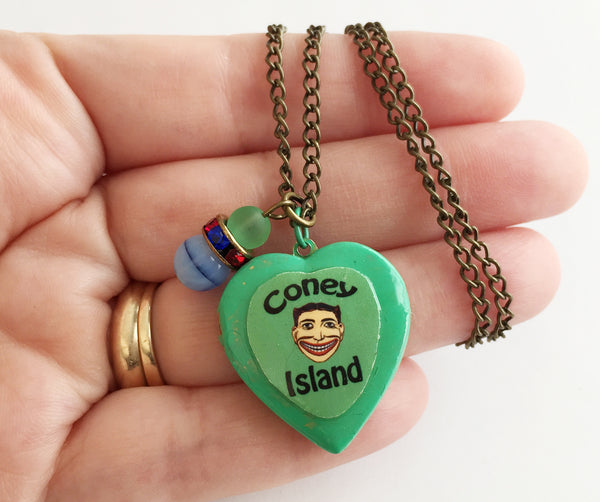 Coney Island Tillie Face Locket Necklace with Rhinestones