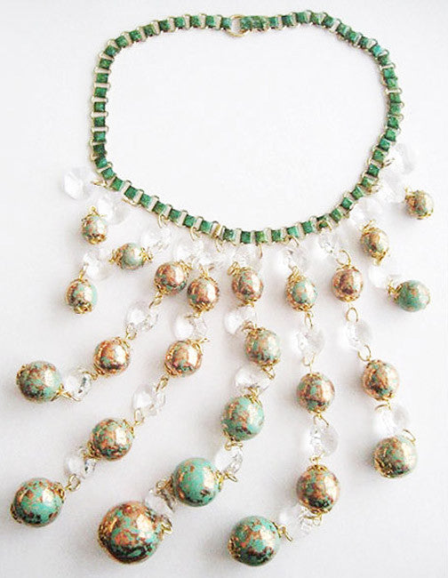 Turquoise Gold Spatter Bead & Crystal Bib Runway Necklace