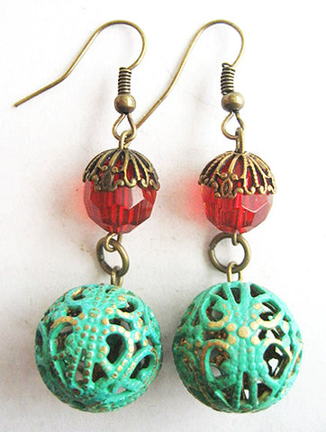 Verdigris Enamel Filigree Ball & Red Crystal Bead Earrings