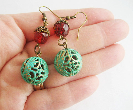 Verdigris Enamel Filigree Ball & Red Crystal Bead Earrings - Hollee