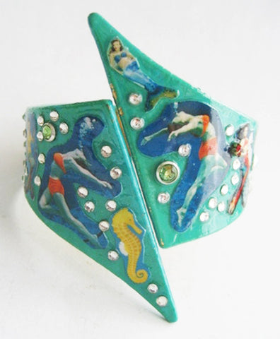 Weeki Wachee Retro Clamper Cuff Bracelet with Mermaids & Seahorses