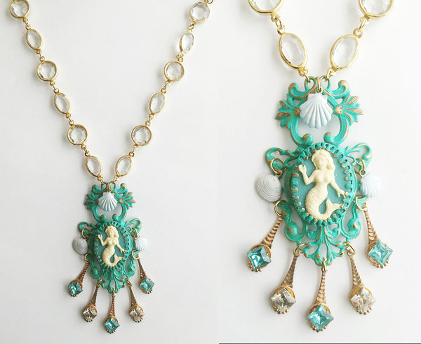 Turquoise Enamel Mermaid Cameo Pendant Necklace with Crystal Bezel Chain