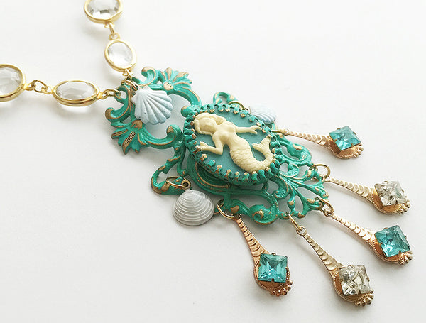 Turquoise Enamel Mermaid Cameo Pendant Necklace with Crystal Bezel Chain - Hollee