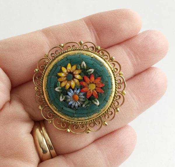 Vintage Micro Mosaic Colorful Flower Pin Italy - Hollee