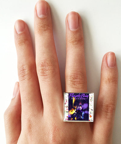Prince - Purple Rain - Album Cover Art Adjustable Ring - Hollee