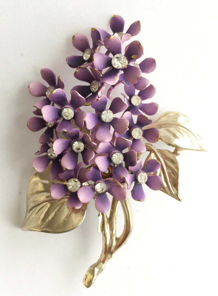 Vintage Enamel and Rhinestone Large Flower Pin - Hollee