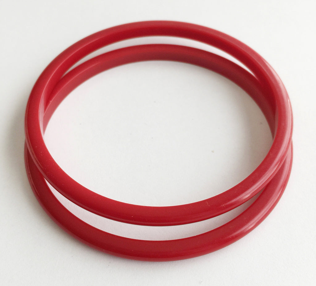 Vintage Pair Thin Cherry Red Plastic Bangle Bracelets