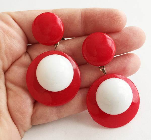 Vintage Mod Red & White Plastic Dot Drop Clip Earrings - Hollee