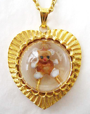 Vintage Lucite Cabochon Teddy Bear Heart Charm Pendant Necklace - Hollee