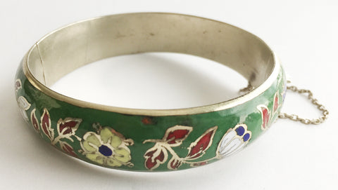Vintage Cloisonné Enamel Flower Hinged Bangle Bracelet