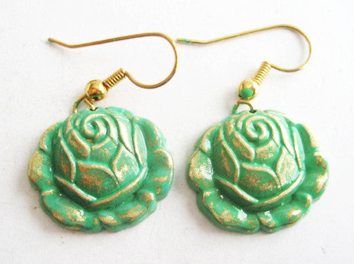 Verdigris Enamel Dangling Rose Flower Earrings