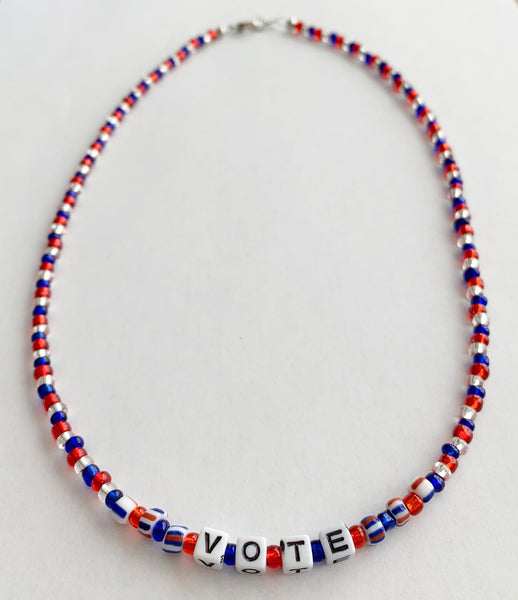 Presidential Election VOTE Necklace Glass Beads