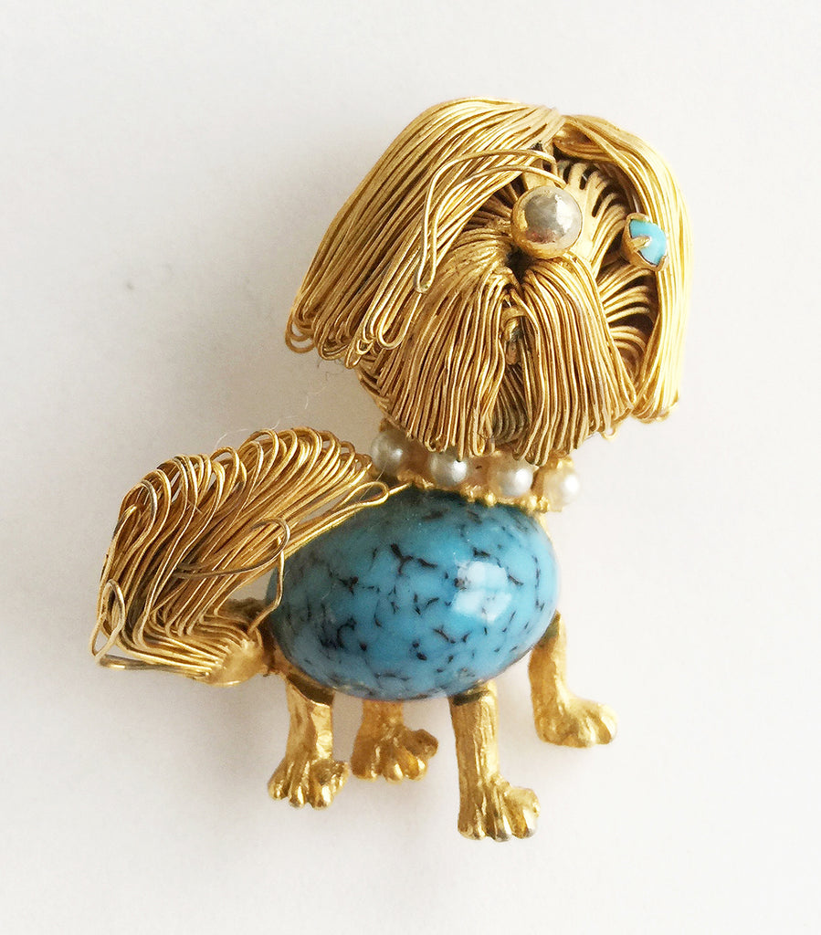 Vintage Figural Dog Pin with Turquoise and Pearls - Hollee