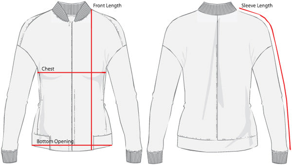 Womens's Bomber Sizing