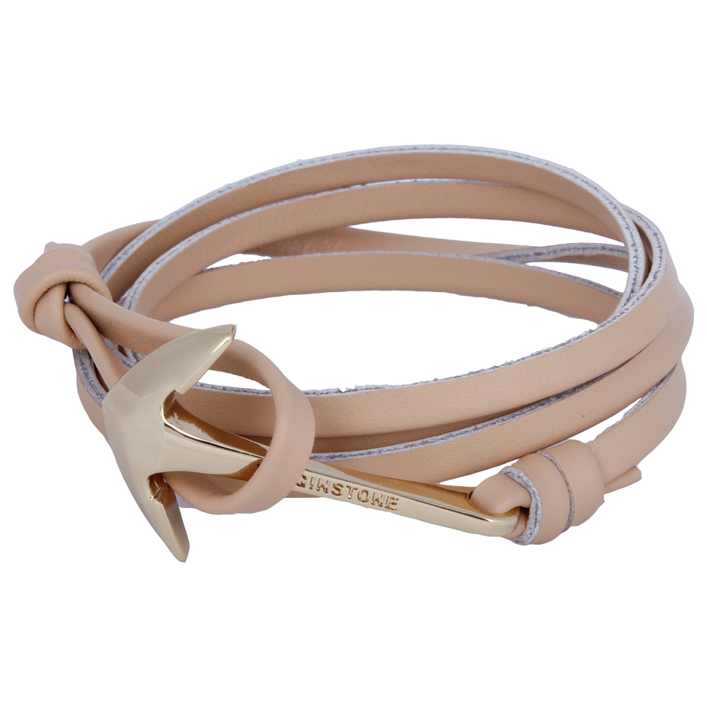 LEATHER KHAKI Golden anchor