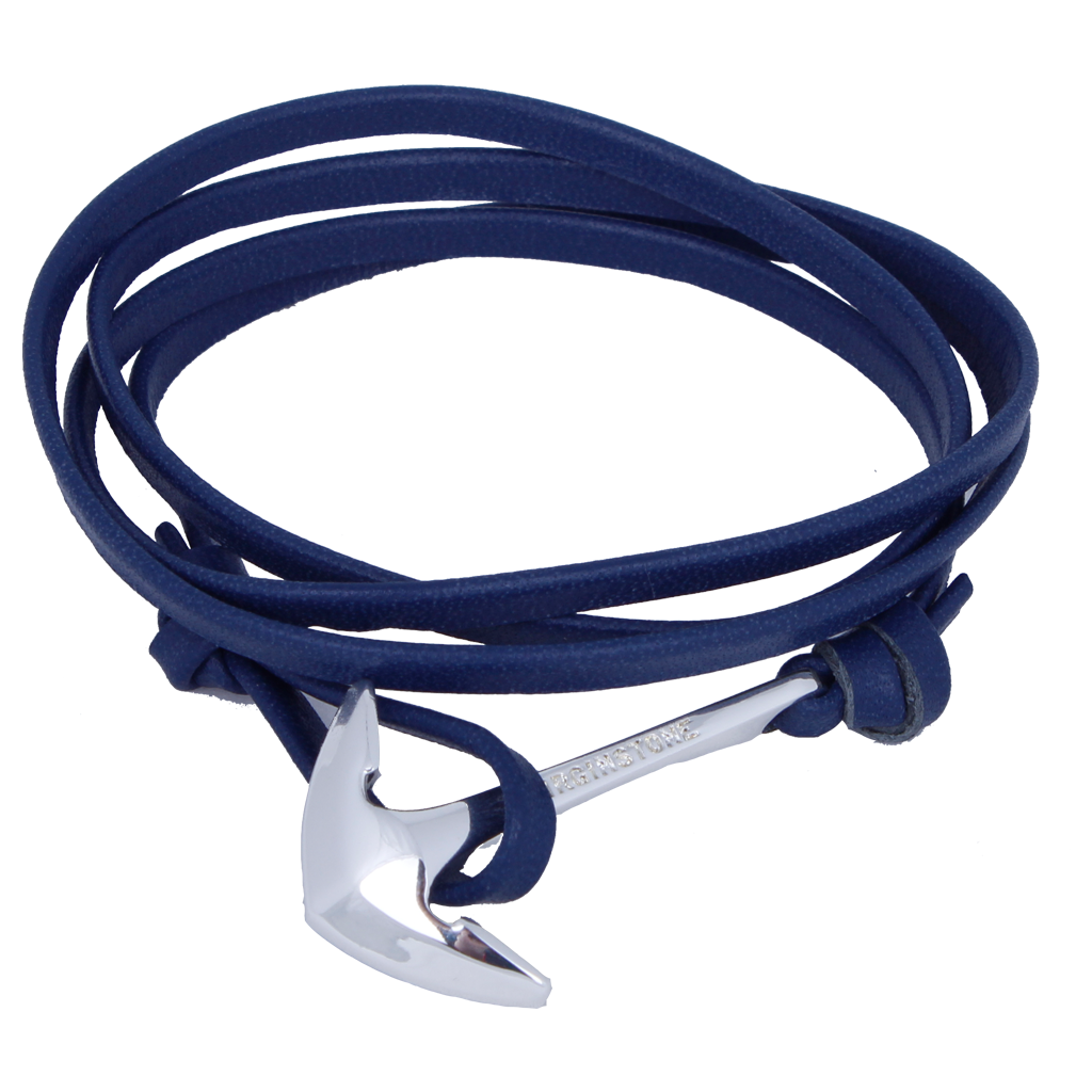 LEATHER NAVY Silver anchor