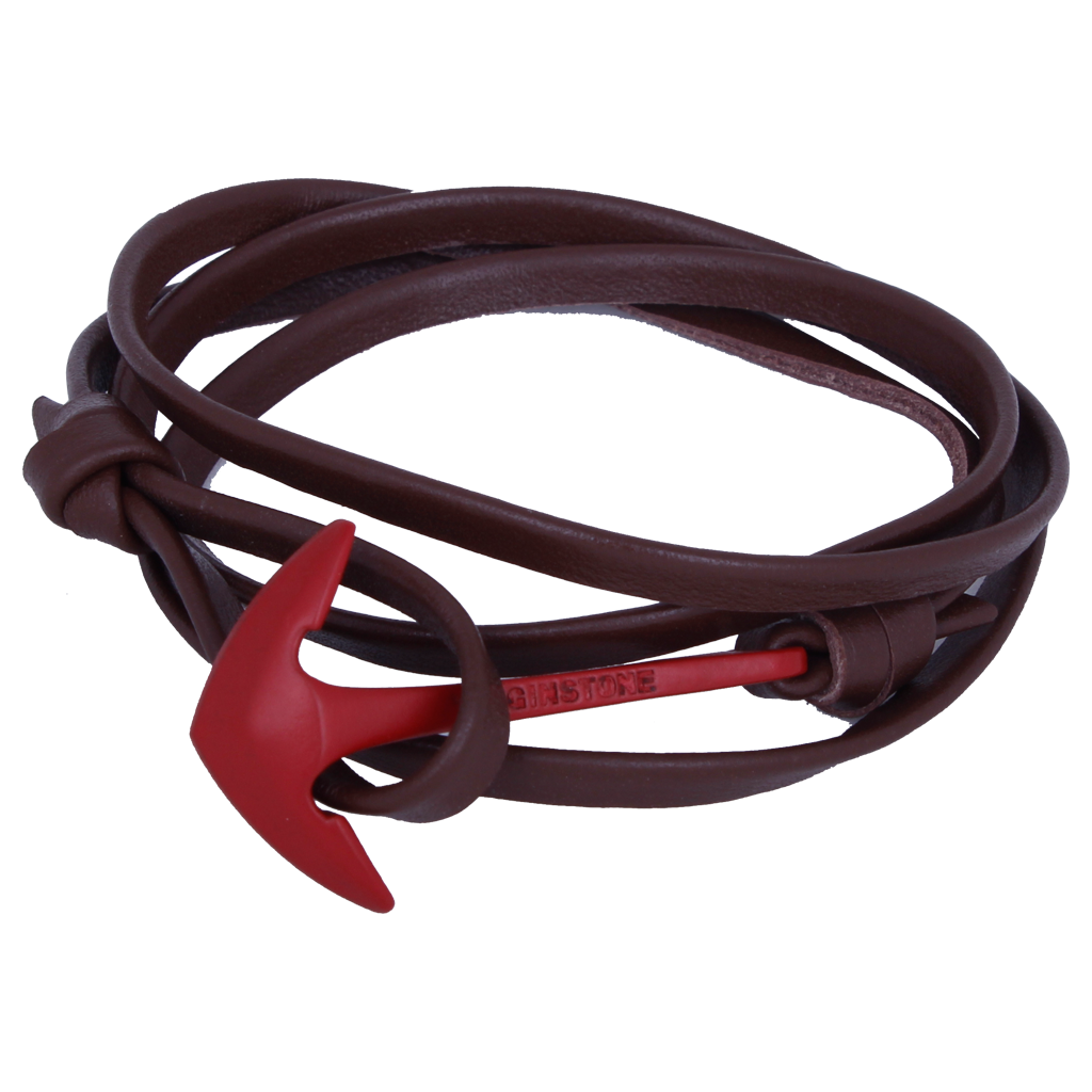 LEATHER BROWN Red anchor
