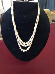 Vintage Three Strand Pearls