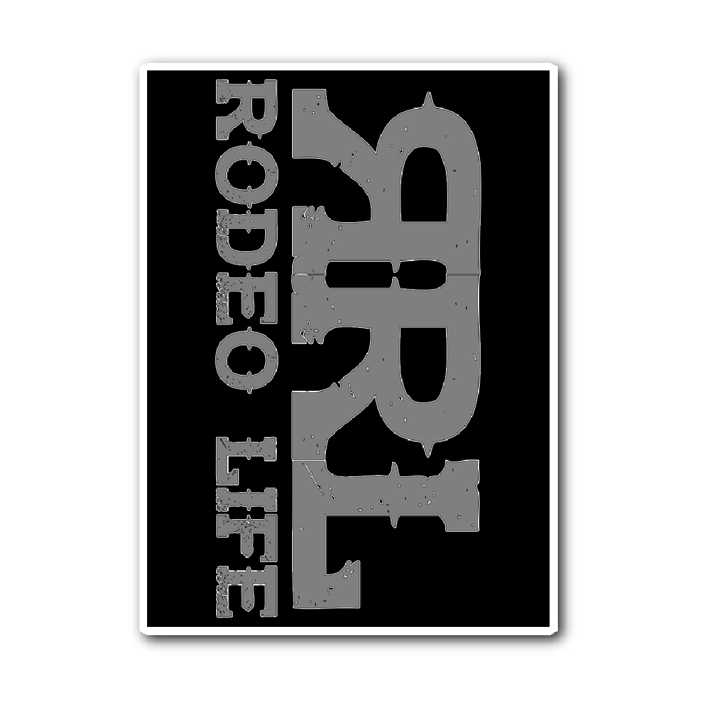 Rodeo Life Logo Sticker - Black & Gray Rodeo Life - Country Clothing - Rodeo